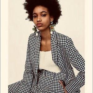 ZARA Gingham Black and White Plaid Check Waistcoat